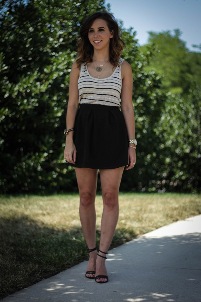 va darling. dc blogger. virginia personal style blogger. black skater skirt. striped tank dress. strappy tibi sandals. spring style. dc fashion. 6