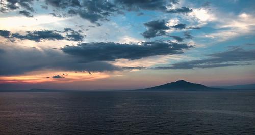 sunset sky italy clouds volcano bay naples vesuvius sorrento