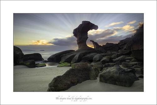 beach sunrise dawn rocks hargravesbeach