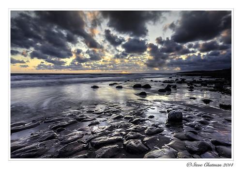 uk sunset sea beach southwales wales clouds canon rocks waves tide 2014 monknash stevechatman