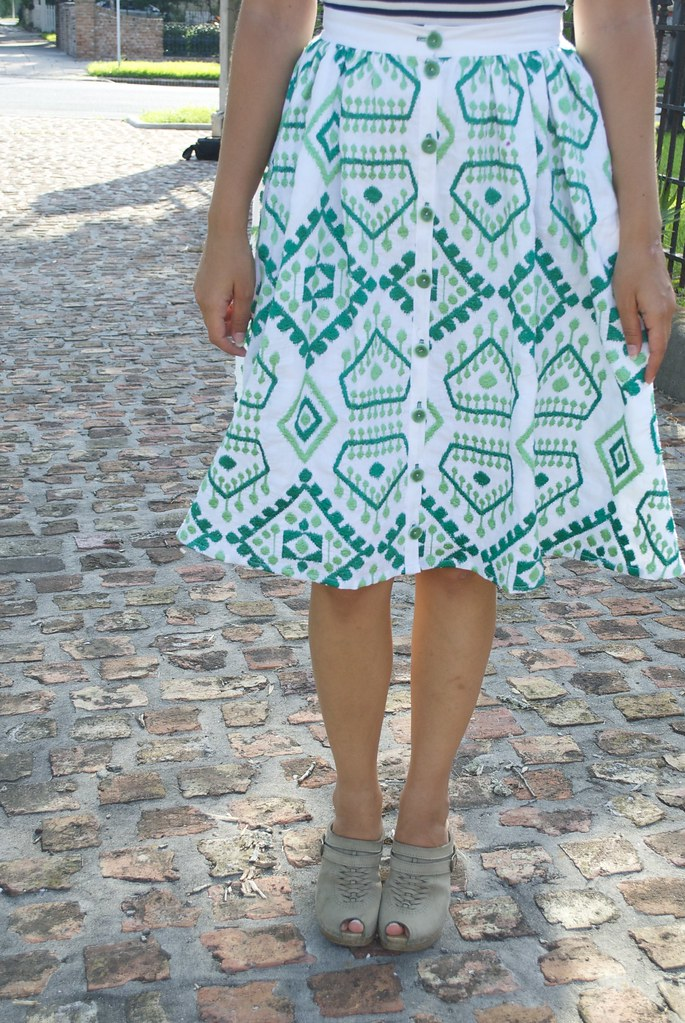 Mood Fabrics Geometric Embroidered Linen Skirt