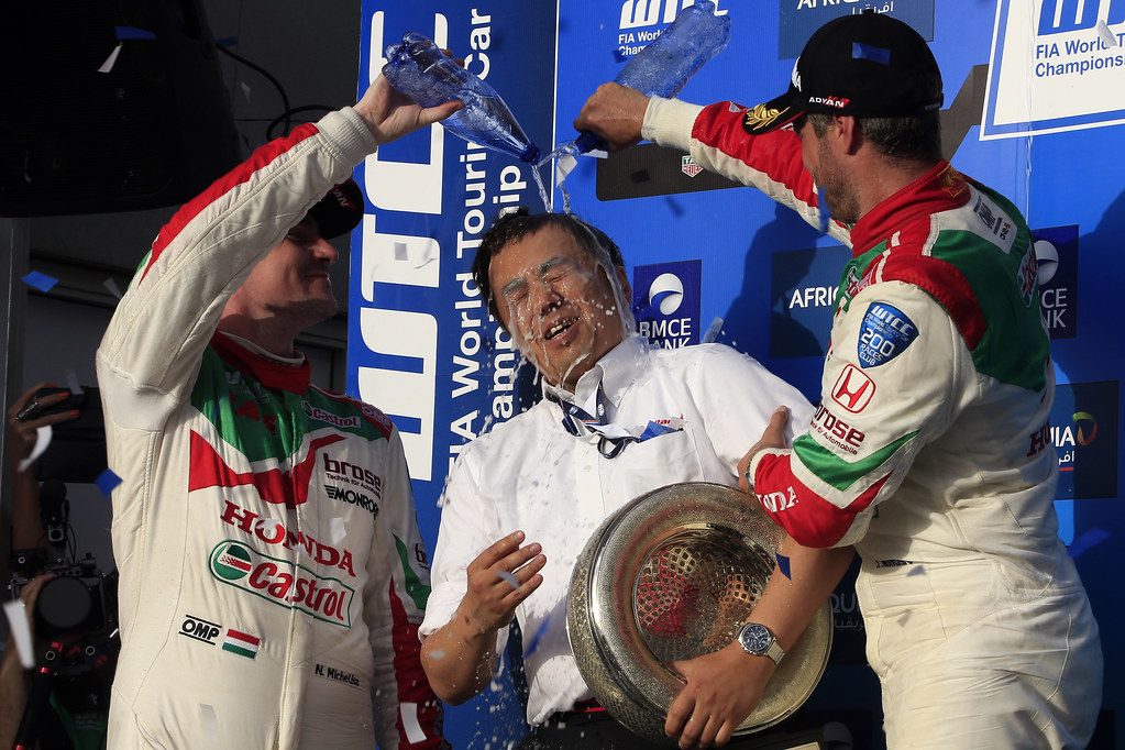 podium race 2  MONTEIRO Tiago (prt) Honda Civic team Castrol Honda WTC ambiance portrait MICHELISZ Norbert (hun) Honda Civic team Castrol Honda WTC ambiance portrait during the 2017 FIA WTCC World Touring Car Race of Morocco at Marrakech, from April 7 to 9 - Photo Paulo Maria / DPPI