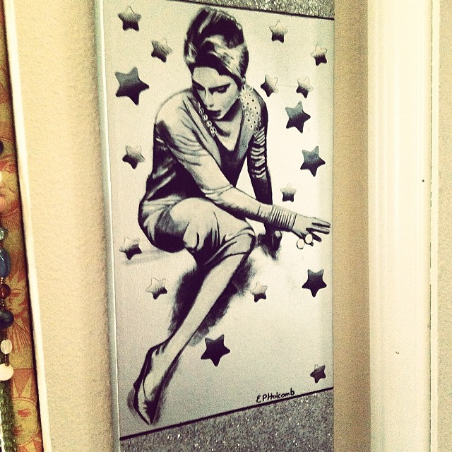 The Edie painting I did back in 2008. The Sedgwick lawyer banned me from selling it on Etsy (!), but it's technically still for sale. The top and bottom border are holographic silver glitter. I would love to paint her again!