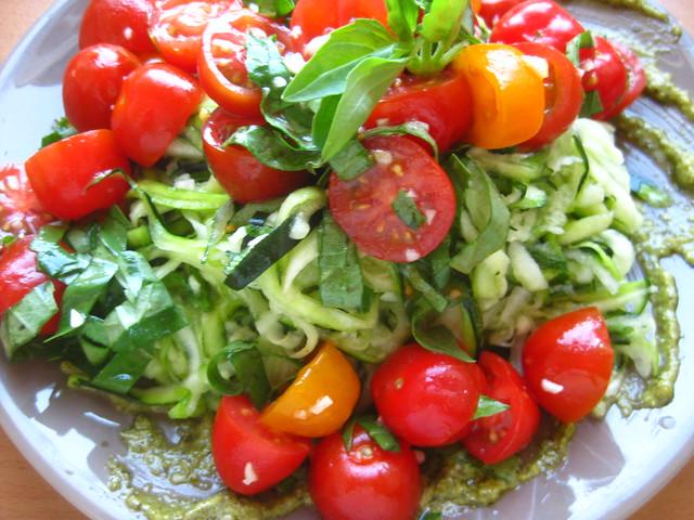 raw spaghetti and tomato sauce