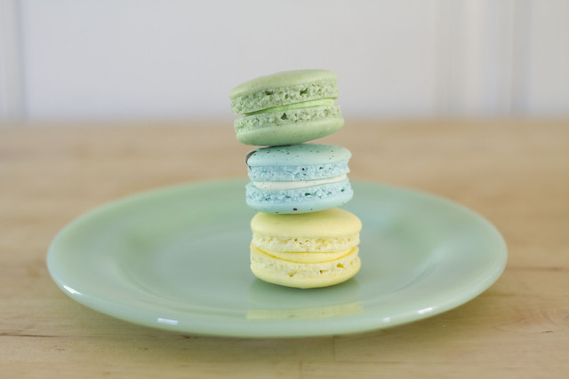spring-colored macarons