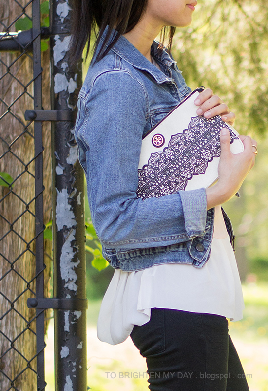 denim jacket, colorblock peplum top, lace printed clutch