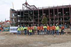 Seventeen Iron Workers and operators celebrated the placement of the last steel beam on Wayne State University's Multidisciplinary Biomedical Research Building last week.