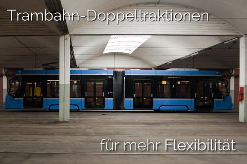 Trambahn-Doppeltraktionen, beispielwiese aus zwei- und dreiteiligen Avenio-Zügen, sollen in Zukunft für großere Kapazitäten und mehr Flexibilität sorgen