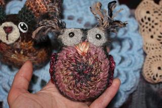 The Making of Handspun crochet owl