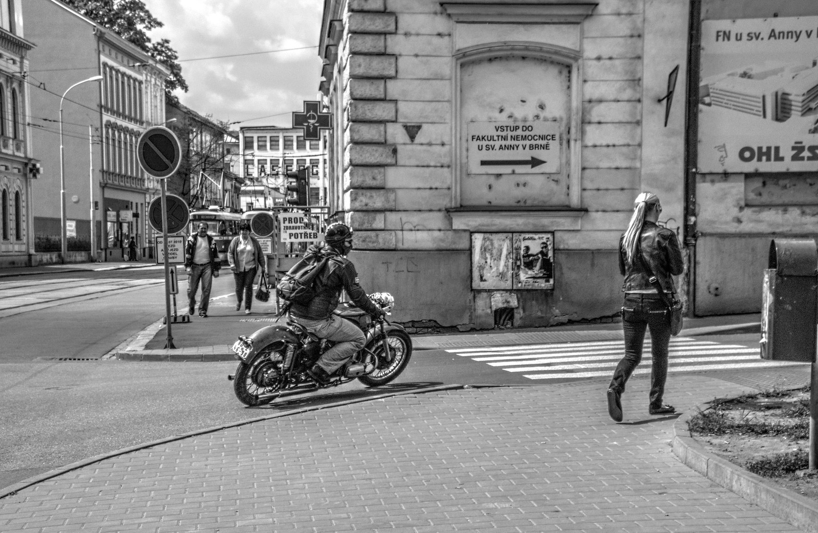Street Scene with Retro Biker