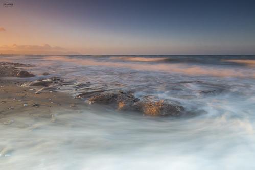 longexposure sea orange seascape sunrise reflections landscape dawn rocks waves almería cabodegata retamar canonef24105mmf4lisusm beautyoflight canoneos6d silkywaves