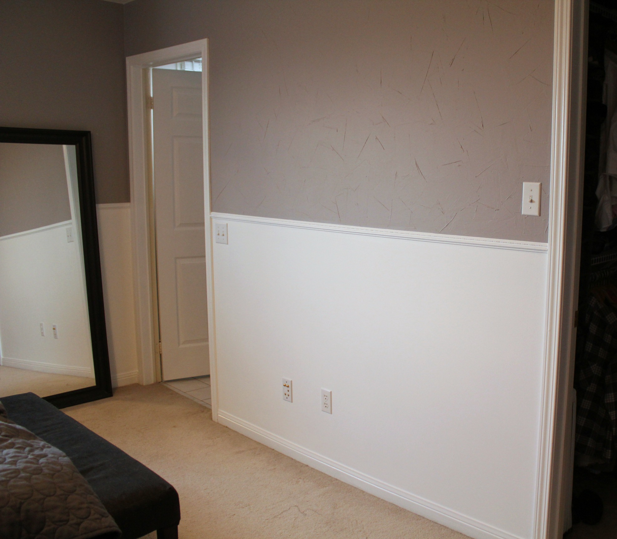 Master Bedroom BM Stormy Monday Grey and White Wainscoting