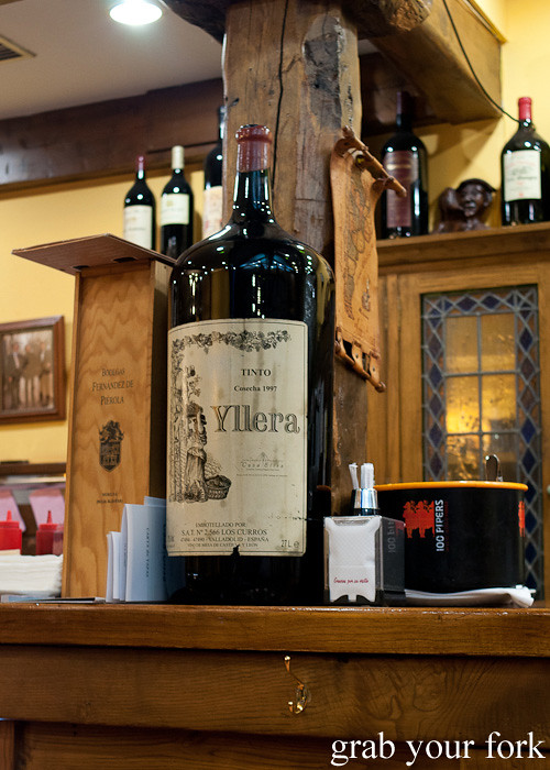 Primat bottle of red wine holding 27 litres at Casa Elisa Restaurant in Santiago de Compostela, Spain