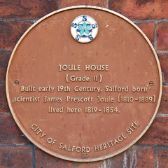 Photo of James Prescott Joule brown plaque