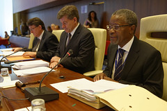 2014-06-13 Governing Body of the ILO. Greg Vines, Deputy Director-General of the ILO, Mr Guy Ryder, Director-General of the ILO and H.E Mr. Apolinário Jorge Correia, the newly elected Chairperson of the Governing Body of the ILO.