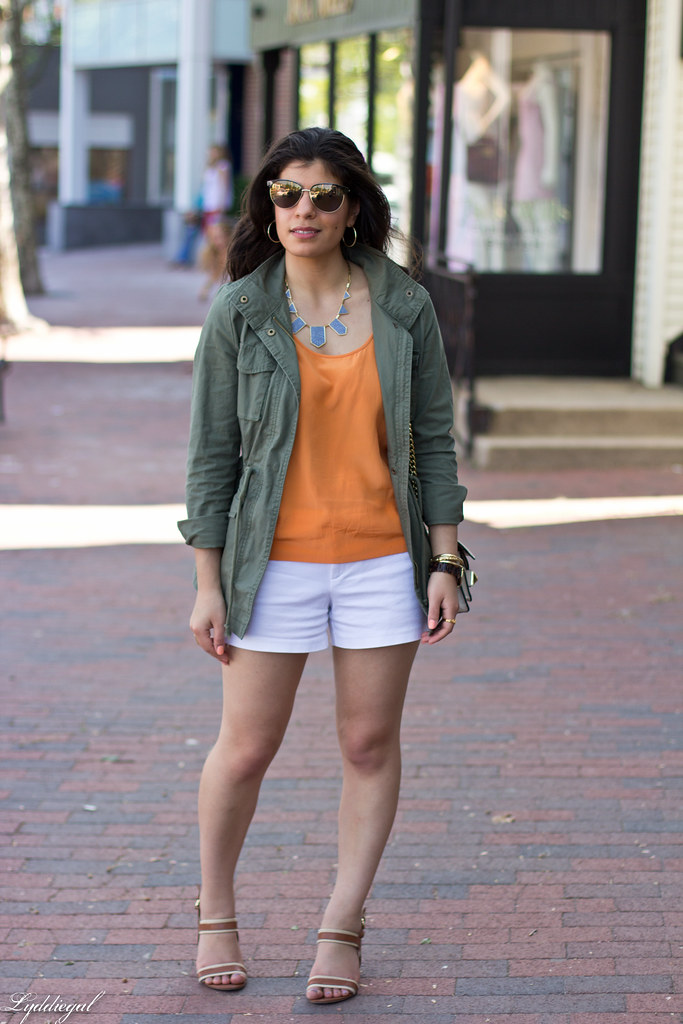 orange blouse, white shorts, utility jacket-2.jpg