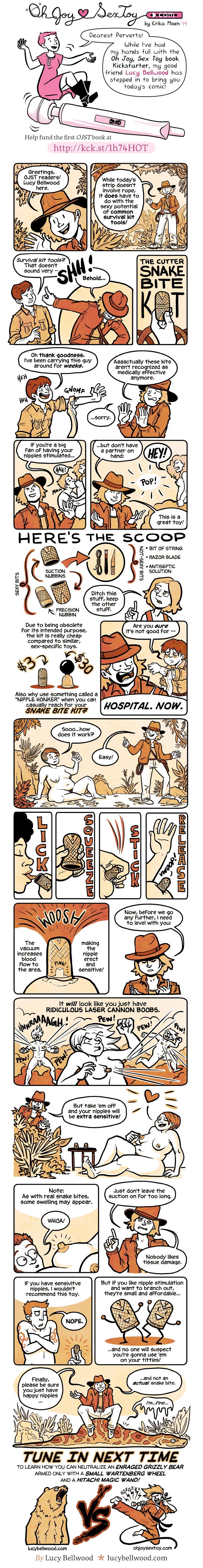 a comic about using obsolete snakebite kits as DIY nipple stimulation toys