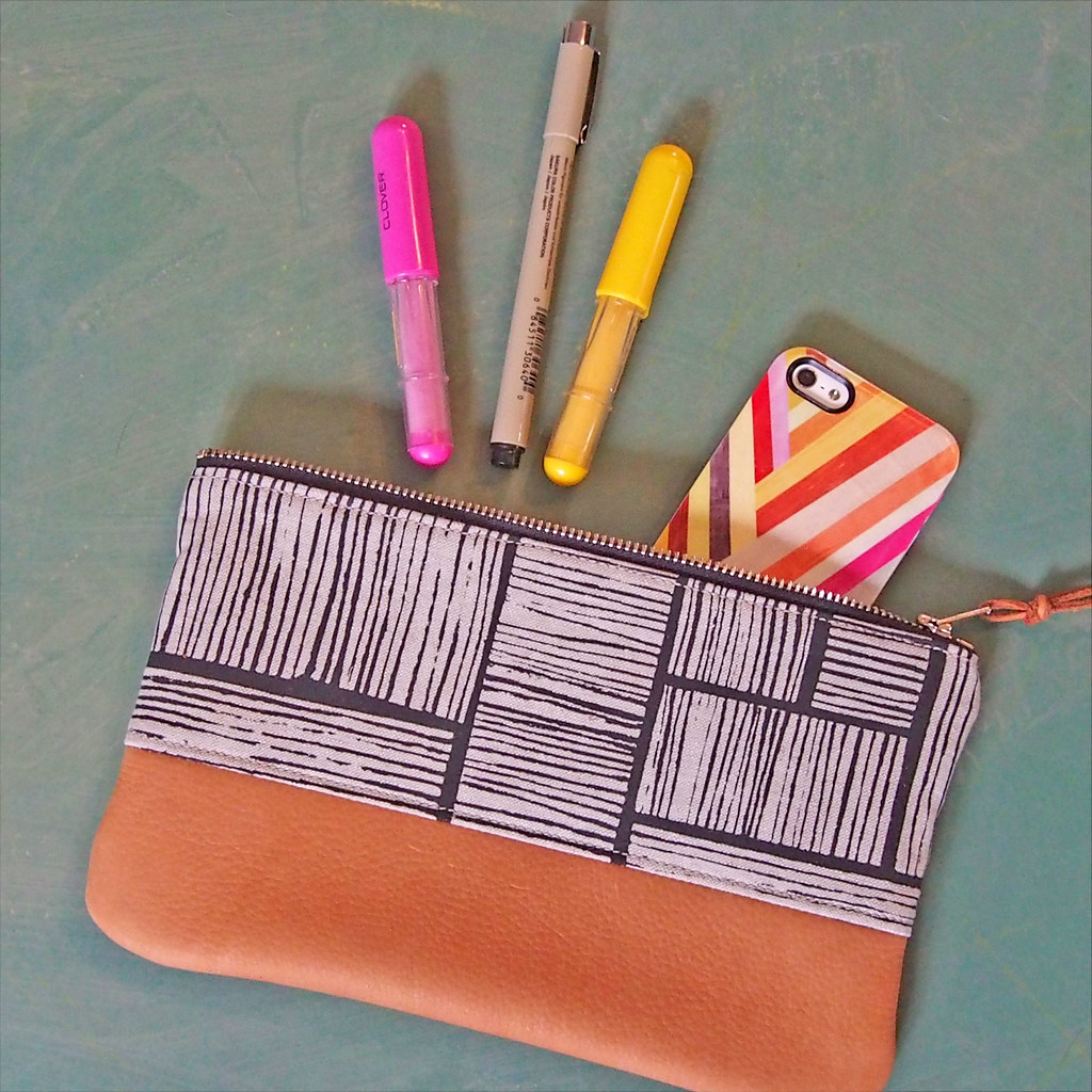 leather and screen printed pouch