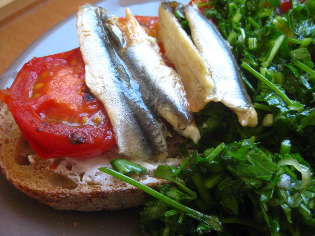 Charred Tomato, White Anchovy, Chimichurri Tartine