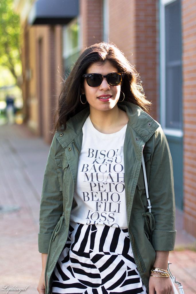 kiss tee, utility jacket, black and white skirt-3.jpg