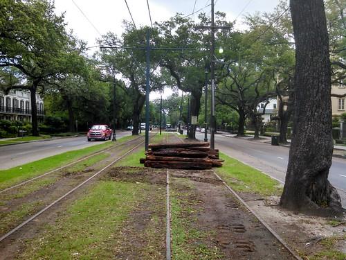 Rail ties downtown