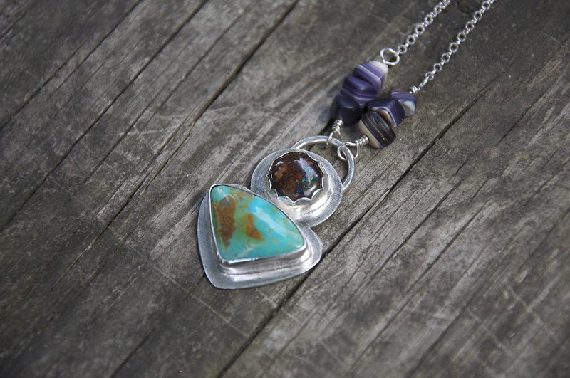 Cerulean Seas Pendant ++ Kingman Turquoise and Sparkly Boulder Opal Set in Fine Silver with Gorgeous Handcrafted Wampum