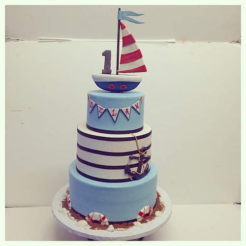 Nautical first birthday cake #polkadotscupcakefactory