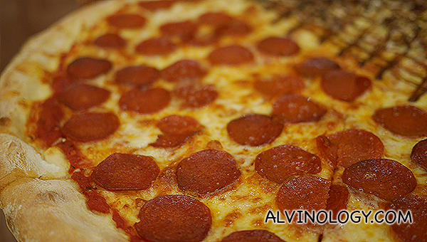 Close-up of the pepperoni pizza