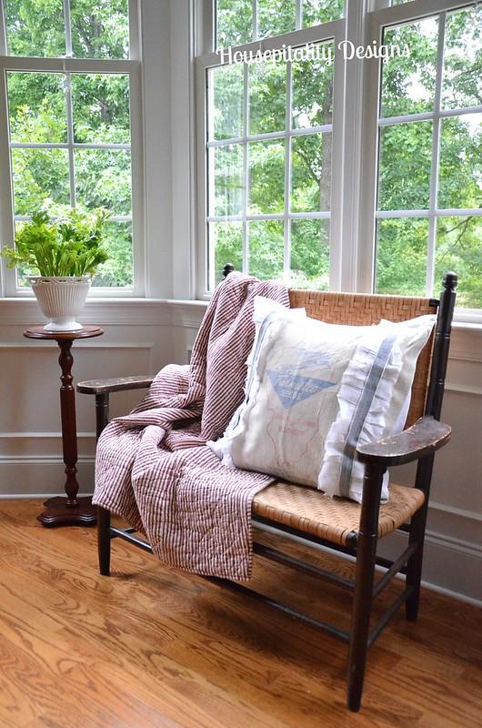 Antique Split Oak Bench/Grain Sack Pillow