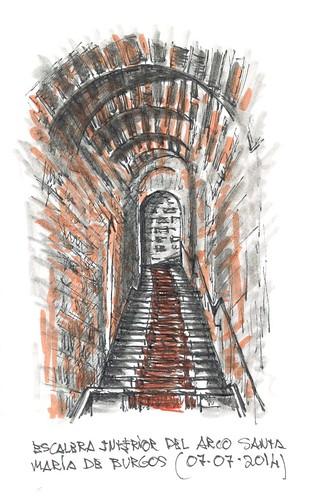 Escalera interior del Arco de Santa María en Burgos