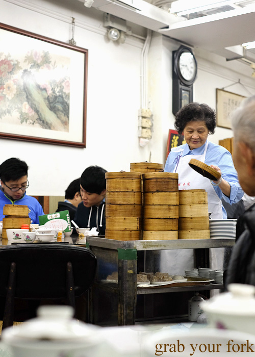 Dim sum on the yum cha trolley at Lin Heung Tea House in Central, Hong Kong