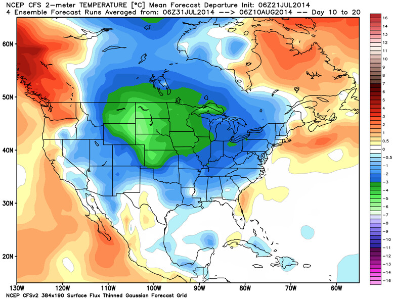CFSv2 temperature forecast August 2014