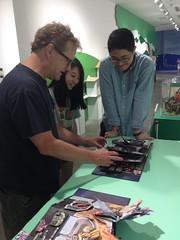 David Carter inspects a Matthew Reinhart book!