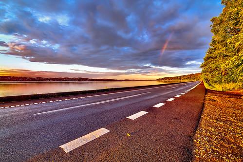 road trees sunset water clouds denmark rainbow bent vejle vejlefjord velling samyang14mmf28 sonya7r