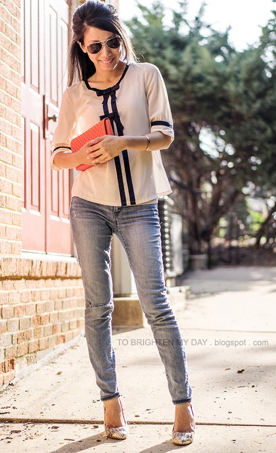 bow blouse, orange clutch, tweed + sequins pumps
