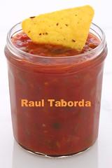 Delicious hot salsa dip and nachos