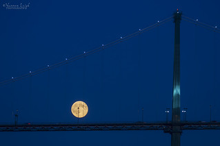 the moon crossing the Lion's Gate Bridge