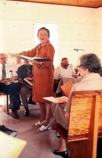 Woman leading Sacred Harp singing  - Old Chicora