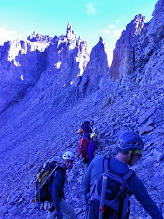 Traversing to Teakettle's Black Gully