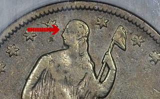 1861-O half dollar die-break