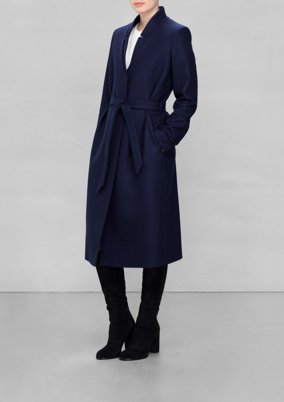 and other stories navy wool-blend coat