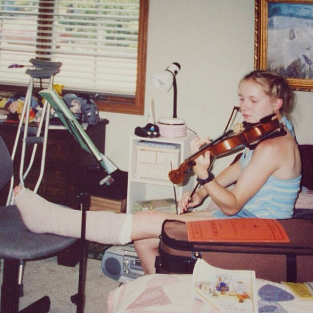 I broke my ankle the summer after I graduated HS. Clearly didn't stop me from playing my violin! #tbt