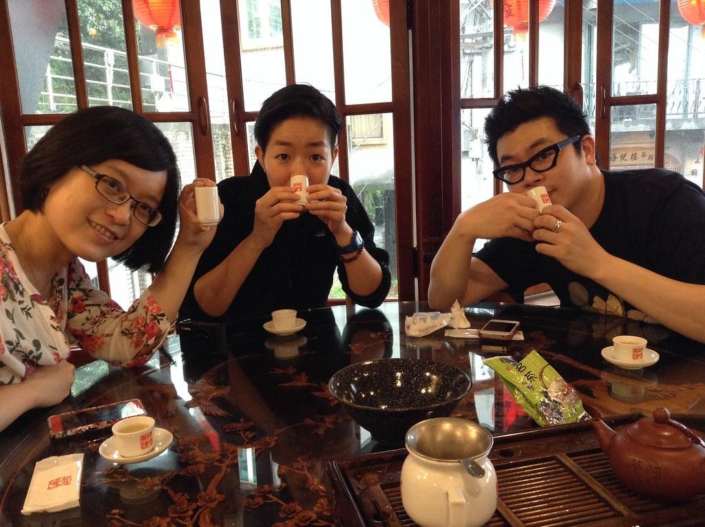 Drinking tea in Jiufen