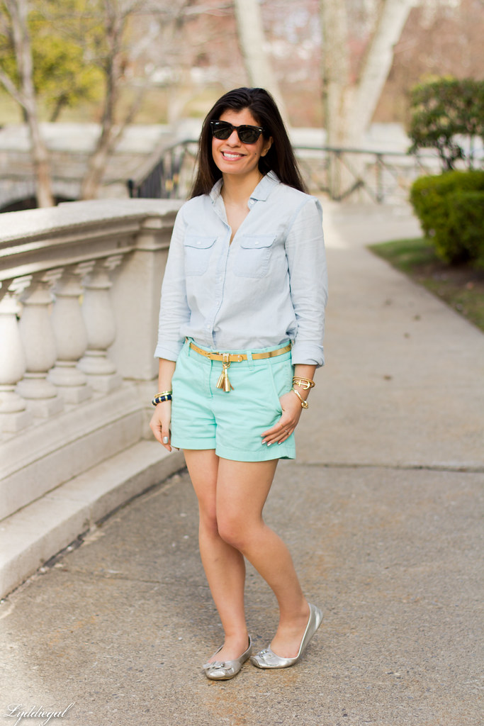 chambray shirt, turquoise shorts-1.jpg