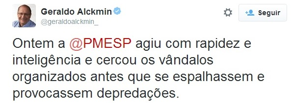 Governador Geraldo Alckmin apoiando os crimes da PM de SP.