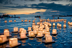 Floating Lanterns Launched at Sunset by Dwight K. Morita.