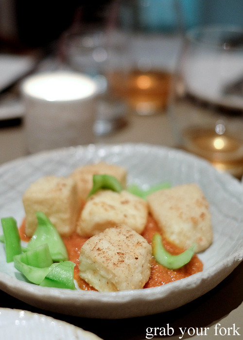 Tofu, bacon and cucumber at Pinbone, Woollahra