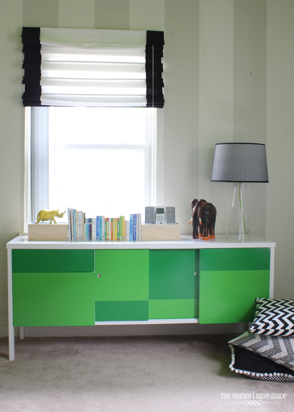 Green Color Block Credenza-016