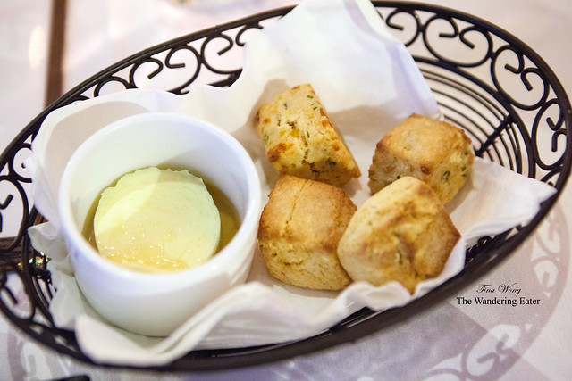 Fresh biscuits and honey butter