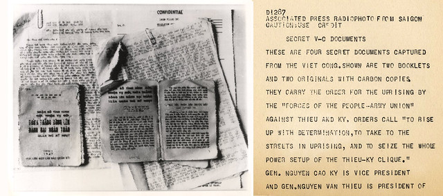 VIETNAM WAR PHOTO - SECRET V-C DOCUMENTS